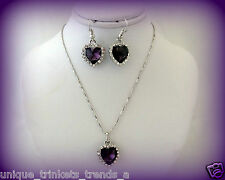 FEBRUARY BIRTHSTONE AMETHYST PURPLE CRYSTAL HEART SILVER NECKLACE & EARRINGS SET