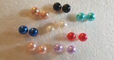 Pearl Earrings Lot of 8 pair multi colored imitation pearl stud earrings