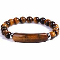 Fashion Tiger Eye Natural Stone Beaded Bracelet Women Bangle Jewelry Xmas Gifts