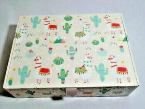 Molly & Rex Llama Cactus Keepsake Trinket Storage Box 9 x 6.5 x 2.5 Inches NEW