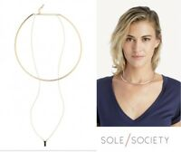 Sole Society COLLAR NECKLACE Layered Quartz Crystal Gold Filled NEW $50