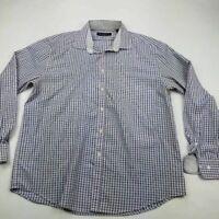 Nicole Miller Mens Dress Shirt Purple Windowpane Long Sleeve Flip Cuff L 16-16.5