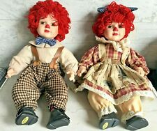 "Raggedy Ann Andy Seymour MANN Porcelain Doll Set 15"" Connoisseur Collection"