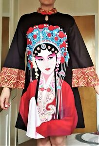 Women dress size S - 10 Black and red Chinese Asian style long sleeves