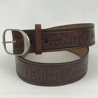 Mexico 34 Inch Leather Belt Hand Tooled Silvertone Buckle