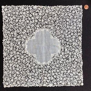 Large vintage Belgian Rosaline bobbin lace handkerchief COLLECTOR BRIDE