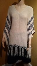 American Rag Oatmeal Combo  V neck Poncho with Fringes MSRP $59.50