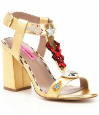 NIB Women's Size 9/40 Betsey Johnson Jossy Sandals Metallic Gold & Embellishment