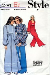 70s Style Sewing Pattern 4281 Misses Dress Tunic Trousers Size 12