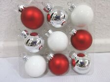 "Christmas Peppermint MINI Glass Ball Red White Silver Ornaments 1.5"" Set of 9"
