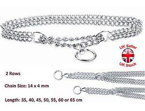 Semi Choke Chain Collar Metal Chrome Training 2 Rows 14 x 4 mm Chain 7 Sizes