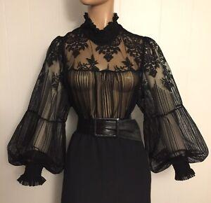 "3X SHEER Black Lace HIGH NECK Poet Sleeve BLOUSE 54"" Bust Vintage Victorian"