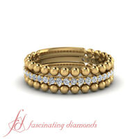.30 Carat Round Cut Diamond With Beaded Stack Ring Set 18K Yellow Gold
