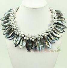 N14110706 silver FW pearl shell flower statement necklace earrings set