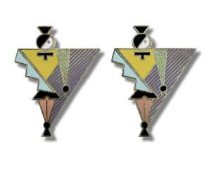 "Vintage ACME Studio ""Woman"" Enamel Earrings by Graphic Artist April Greiman"