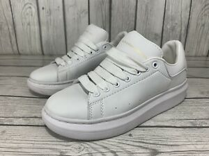 Alexander McQueen Pelle Lace-Up Oversized White Sneakers Size 39 US 8