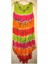 Lime/Pink/Orange  Embroid/Sequin Tie Dye Full Dress/Cover-up Gauze OS XL 1X  NWT