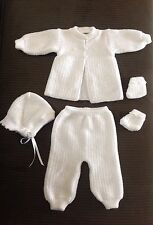 Lupe's Knits Hand Knitted Baby Christening Baptism Outfit & Blanket