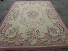 VECCHIO fatto a mano lana design Francese Rosa Limone VIOLA ORIGINALE Aubusson 309X242cm