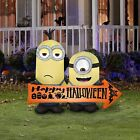5' MINIONS WITH HALLOWEEN SIGN Airblown Lighted Yard Inflatable