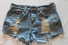 "Womens Levi's 505 Cut Off Blue Jean Shorts 28"" Waist Distressed Holes"
