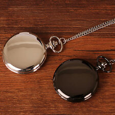 Black/Silver Luxury Steampunk Smooth Steel Quartz Pocket Watch Pendant Chain