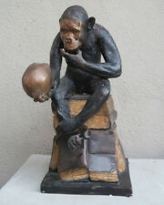 LG Monkey scull book Bronze Vintage Sculpture figurine brass old dark patina Ape