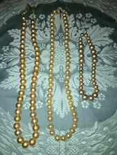 Antique faux pearls heavy weight thread strung 3 strands up-cycle crafts beads