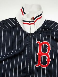 BOSTON RED SOX BASEBALL JACKET MAJESTIC SMALL NAVY & WHITE STRIPE LJKTA834
