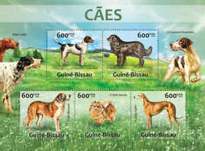 Guinea-Bissau - Domestic Dogs - 5 Stamp Sheet - GB13215a