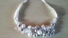 BNWT-Accessories-Pearl/Silver Tone Bead Clusters Design Short Collar Necklace