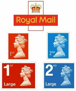 1st Class Royal Mail and 2nd Second class Postage Stamps UK Letter/Large Genuine