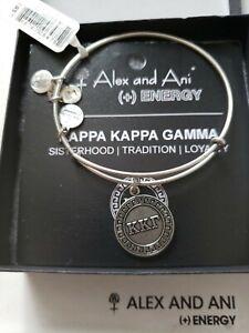 Alex and Ani Kappa Kappa Gamma Silver Tone Charm Bangle New W/Tag Card & Box