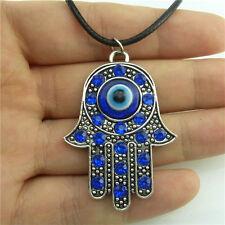 "Blue Acrylic Hamsa Hand Pendant Necklace 89609 17"" Leather Chain Vintage Silver"