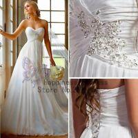 2014 White/Ivory Elegant Beach Chiffon Wedding/Bridal Dress Size 6 8 10 12 14 16