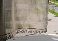 Natural Linen Curtain Vintage Lace Curtains Cafe Curtains Washed Linen Gray