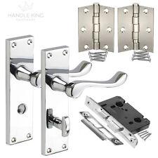 Polished Bathroom Door Handles on Plate Internal Pack with Handles,Lock & Hinges