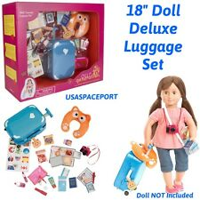 "18"" Doll Deluxe LUGGAGE SET Suitcase Well Traveled American Girl Our Generation"