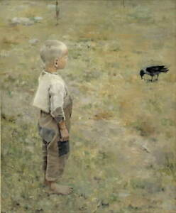 Akseli Gallen Kallela Boy with a Crow Giclee Art Paper Print Poster Reproduction