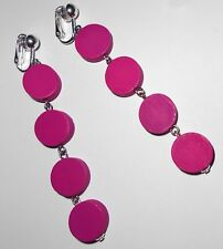 8cm LONG, FUN BRIGHT PINK DANGLES  CLIP ON EARRINGS (Hook Options)
