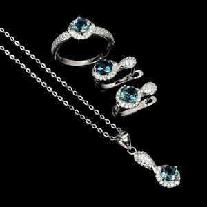 AAA LONDON BLUE TOPAZ EARRINGS RING NECKLACE SET WHITE CZ 925 STERLING SILVER