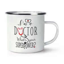 Soy un médico? cuál es su superpotencia Retro Esmalte Taza Taza-Superhéroe