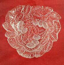 """Vintage Clear Pressed Glass Bowl with Leaf and Berry Design Pattern 7"""" across"""
