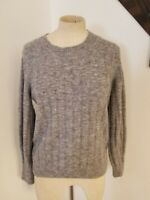 Banana Republic  Ribbed Crewneck Wool Alpaca Sweater Sz XS Balloon Sleeve Gray