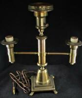 Antique Brass Electric Table Lamp Triple Arm Three-Way Center Light, Deep Patina