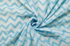 Indian Hand Block Print 100% Cotton Turquoise Chevron Women Dress Craft Fabric