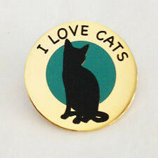 I LOVE CATS - ANIMAL CAT PIN BADGE - 20% TO YORKSHIRE CAT RESCUE