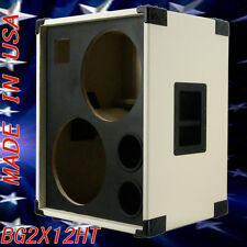 2X12 with Tweeter Empty Bass Guitar Spker Cabinet Ivory WihteTolex BG2X12HTWTBf