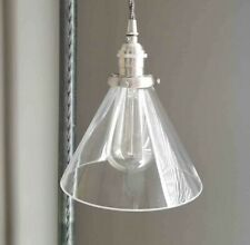 """7"""" Glass Cone Shade, 2.25 inch fitter size- Pendant lamp shade, vintage lighting"""
