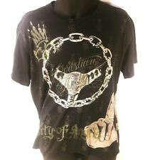 Christian Audigier Men's CITY OF ANGELS Chain Gang Hands Gray Graphic Size XL